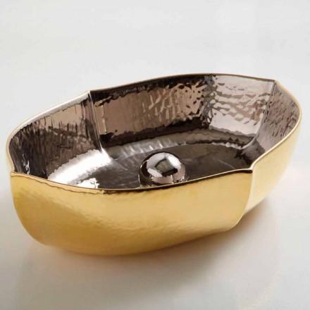 Lavabo d'appui céramique platinum et or, design fait en Italie, Oscar