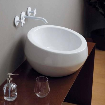 Lavabo d'appui circulaire de design en céramique fait en Italie Elisa