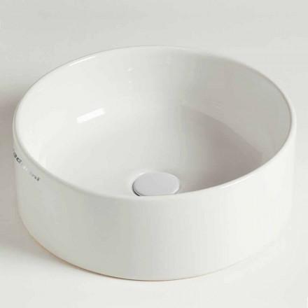 Vasque à poser circulaire moderne en céramique Made in Italy - Rotolino