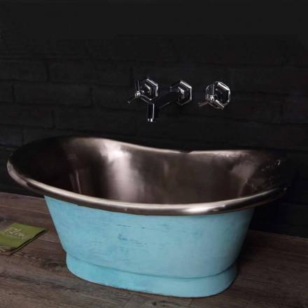 vasque lavabo à poser avec finition en fer blanc et vert-de- gris Calla