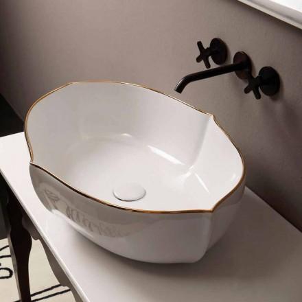 Lavabo d'appui de design italien céramique, blanc bordure or, Oscar