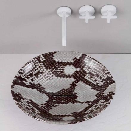 Lavabo d'appui design céramique en cobra, fait en Italie Animals