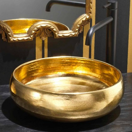 Lavabo d'appui design en céramique raku or 24 carats, Ramon