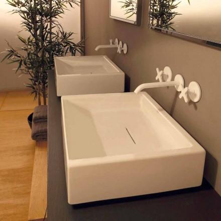 Lavabo d'appui design en céramique rectangulaire fait en Italie Dalia