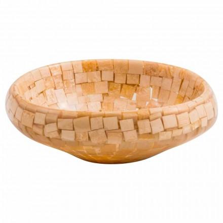 Lavabo à poser design fait main en résine beige, Busalla