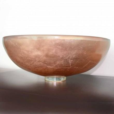 Lavabo à poser design en résine transparente et cuivre - Salvatore