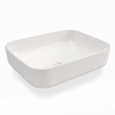 Vasque à poser au design moderne en céramique blanche fabriquée en Italie - Turku