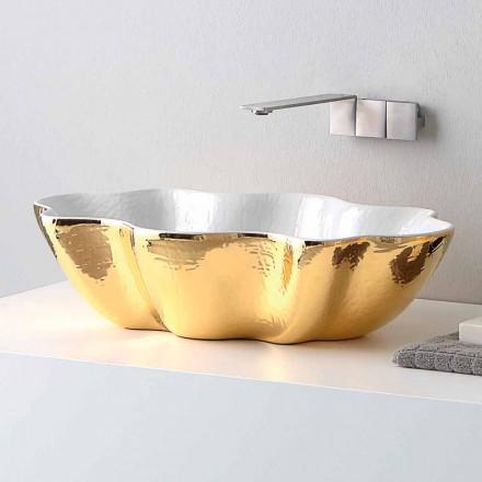 Lavabo à poser en céramique au design moderne fabriqué en Italie Cubo