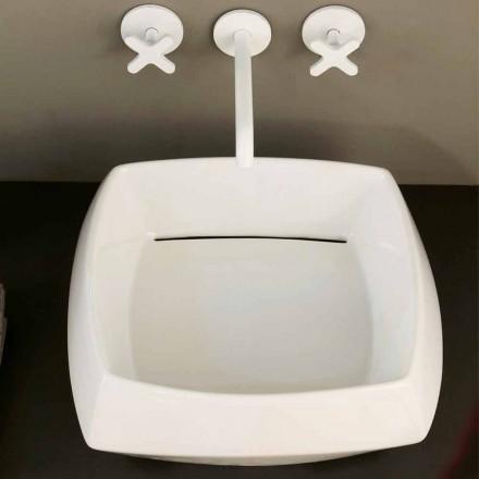 Lavabo d'appui en céramique blanche de design, fait en Italie Simon