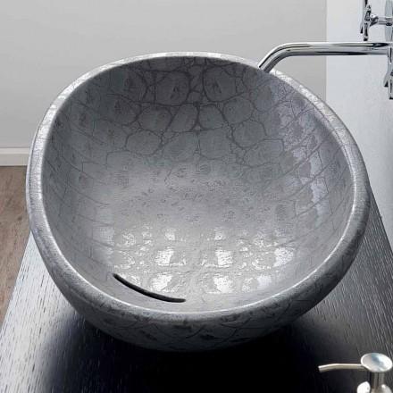 Lavabo à poser en céramique avec imprimé gris coco Glossy
