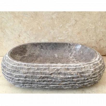 Lavabo de bain d'appui en pierre gris Ivy, pièce unique de design