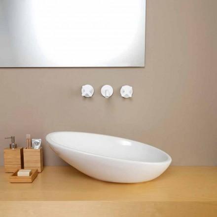 Lavabo d'appui incliné de design en céramique fait en Italie Glossy