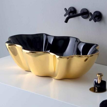 Lavabo à poser en céramique dorée et noire made in Italy Cubo