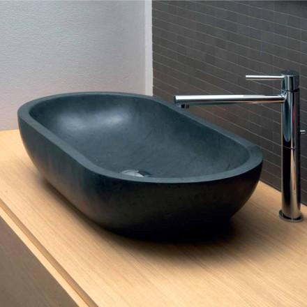 Vasque à poser ovale en pierre naturelle en basalte noir Riau