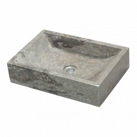 Vasque à poser carré en pierre naturelle grise Jakarta