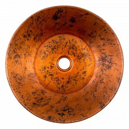Lavabo à poser rond en cuivre à la main, Palosco, pièce unique