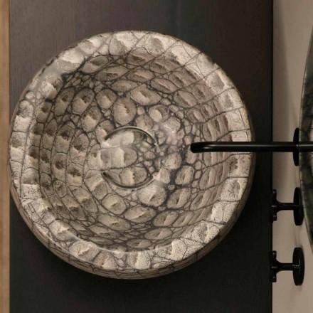 Lavabo d'appui tond céramique caïman de design, fait en Italie Elisa