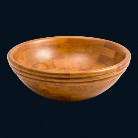 Lavabo à poser rond en bois de teck Kobe, pièce unique