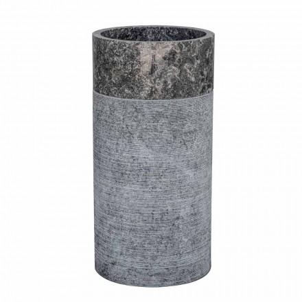 Lavabo de salle de bain cylindrique sur pied en marbre gris - Cremino