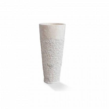 Lavabo sur pied à colonne moderne en marbre blanc - Merlo