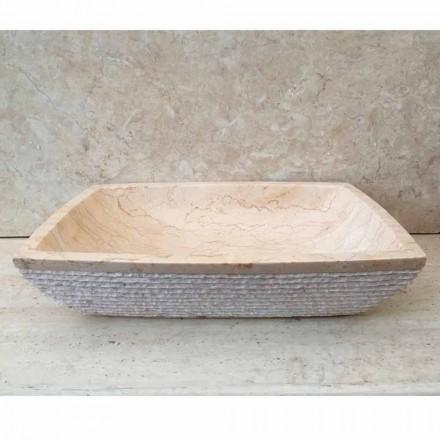 Lavabo de design d'appui pour bain Ala blanc, pièce uniqe, en pierre
