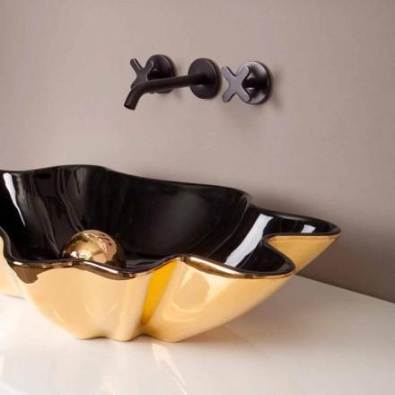 Lavabo de design d'appui céramique noir et or, fait en Italie Rayan