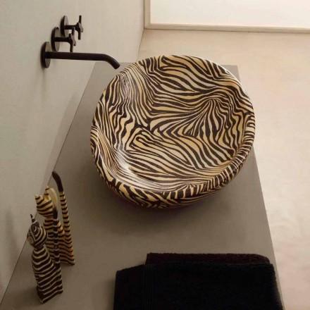Lavabo de design d'appui céramique zèbre orange fait en Italie Glossy