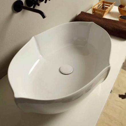 Lavabo de design d'appui en céramique blanc fait en Italie, Oscar