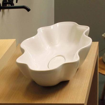 Lavabo de design moderne d'appui céramique blanc, fait en Italie Cubo