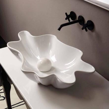Lavabo de design moderne d'appui céramique blanc fait en Italie Rayan