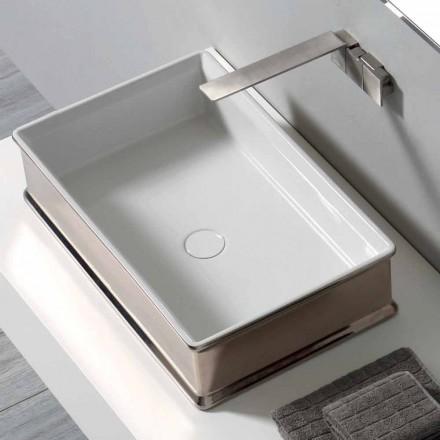 Lavabo à poser en céramique au design moderne fabriqué en Italie Debora