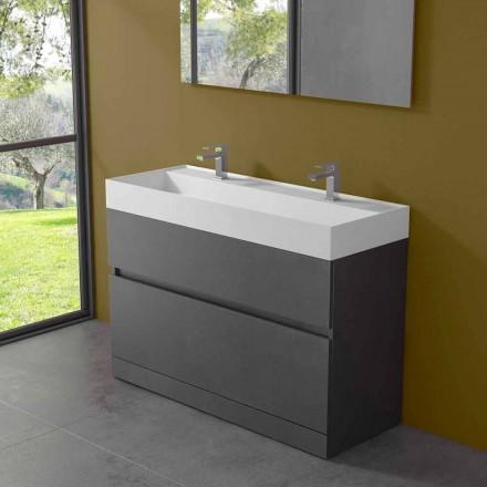 Lavabo double avec meuble au sol Design moderne en stratifié - Pompei