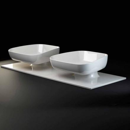 Double évier de comptoir moderne en poterie made in Italy, Reale