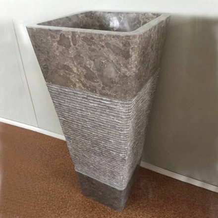 Lavabo gris à colonne de design, pierre naturelle Taffy pièce unique
