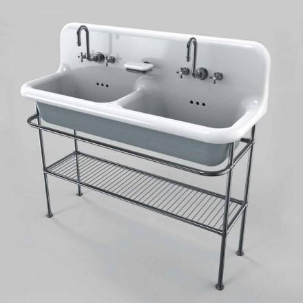 Lavabo céramique double vasque à poser sur structure style vintage Calvin