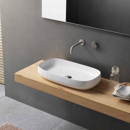 Lavabo à poser en céramique blanche de design moderne fabriqué en Italie - Tune1