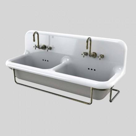 Lavabo céramiquedouble vasque suspendu et coloré vintage Danny
