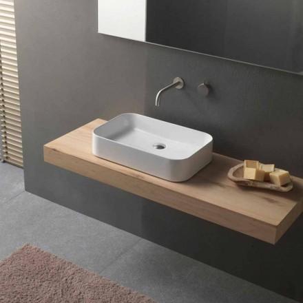 Lavabo rectangulaire à poser en céramique de design moderne - Tangulo