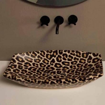 Lavabo en céramique guépard d'appui de design, fait en Italie Laura