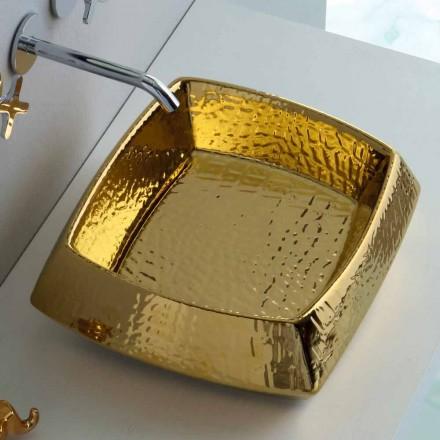 Lavabo à poser moderne en céramique dorée fabriqué en Italie Simon