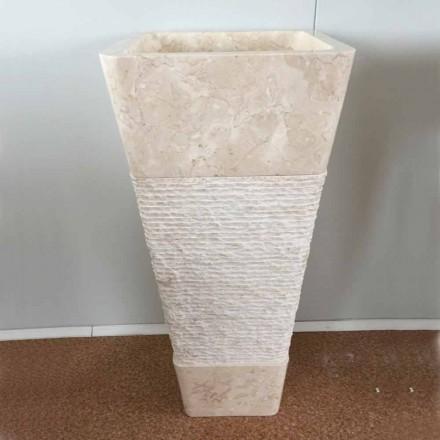 Lavabo en pierre naturelle en colonne Robin, blanc pièce unique