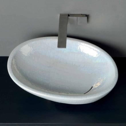 Bassin en nacre de comptoir au design moderne fabriqué en Italie brillant
