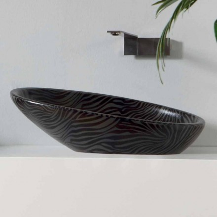 Lavabo à poser moderne en céramique argenté fabriqué en Italie brillant