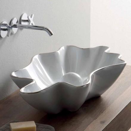 Lavabo à poser moderne en céramique blanche fabriqué en Italie Rayan