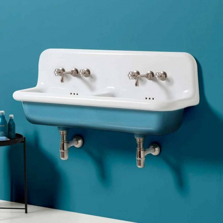 Lavabo double vasque mural vintage en céramique Jack
