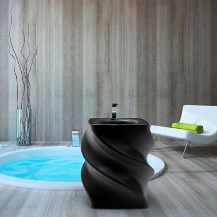 Lavabo sur colonne noir de design moderne Twist, fait en Italie