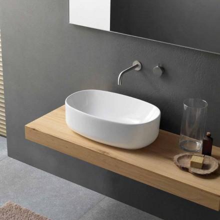 Vasque à poser ovale moderne et design en céramique blanche - Ventori1
