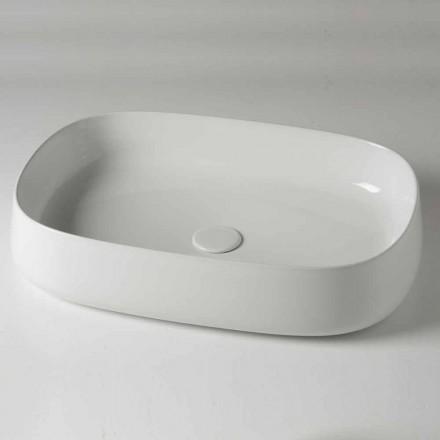 Vasque à poser ovale L 60 cm en céramique moderne Made in Italy - Cordino