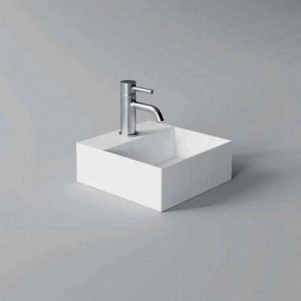 Lavabo en céramique de conception moderne carrée ou rectangulaire fabriqué en Italie - Loi