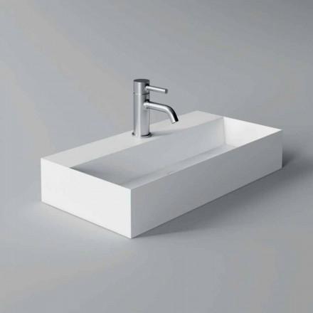 Lavabo à poser rectangulaire suspendu ou moderne 60x30 cm en céramique - Loi